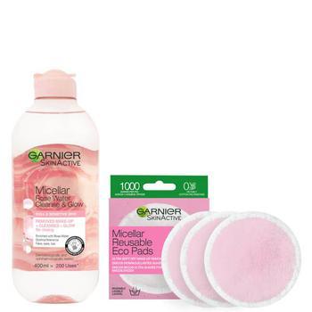 商品Garnier Makeup Remover Eco Pads and Rose Micellar Water Duo Set图片