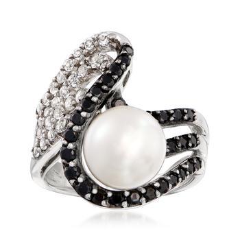 商品Ross-Simons 9.5-10mm Cultured Pearl, . Black Spinel and . White Topaz Ring in Sterling Silver图片