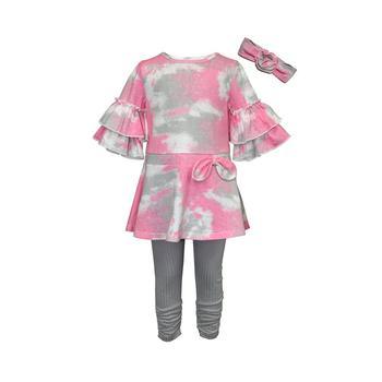 商品Little Girls Tie Dye Tunic and Ribbed Leggings Headband, 3 Piece Set图片