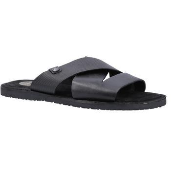 商品Base London Mens Alecco Waxy Emboss Leather Sandal (Black)图片