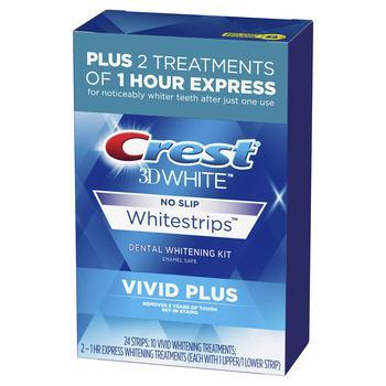 商品Crest 3D White Whitestrips Vivid Plus Teeth Whitening Kit, Individual Strips (10 Vivid Plus Treatments + 2 1hr Express Treatments), Basic Flavorless Whitestrips, 24 Count图片