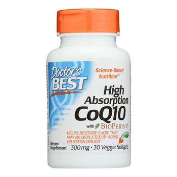 商品Doctors Best High Absorption CoQ10 with Bioperine Veggie Softgels 300 mg, 30 Ea图片
