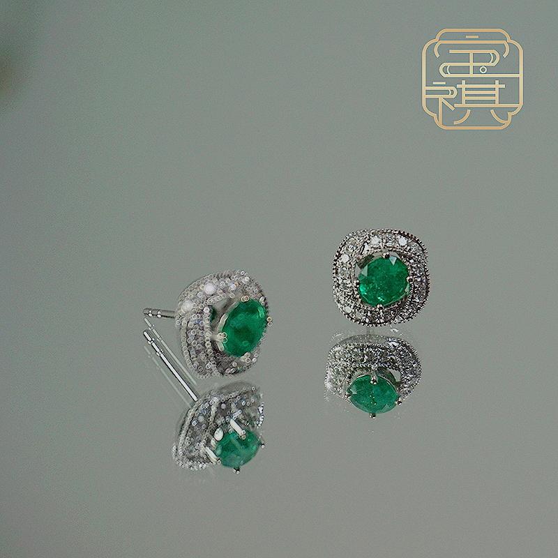 商品[宝祺]祖母绿纽绳纹耳钉BQCBES20210926002图片