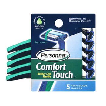 商品Personna Comfort Touch Twin Blade Disposable Razors With Rubber Grip Handle - 5 Ea, 3 Pack图片