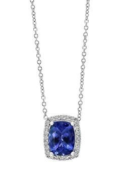 商品1/5 ct. t.w. Diamond and 1.9 ct. t.w. Tanzanite Necklace in Sterling Silver图片