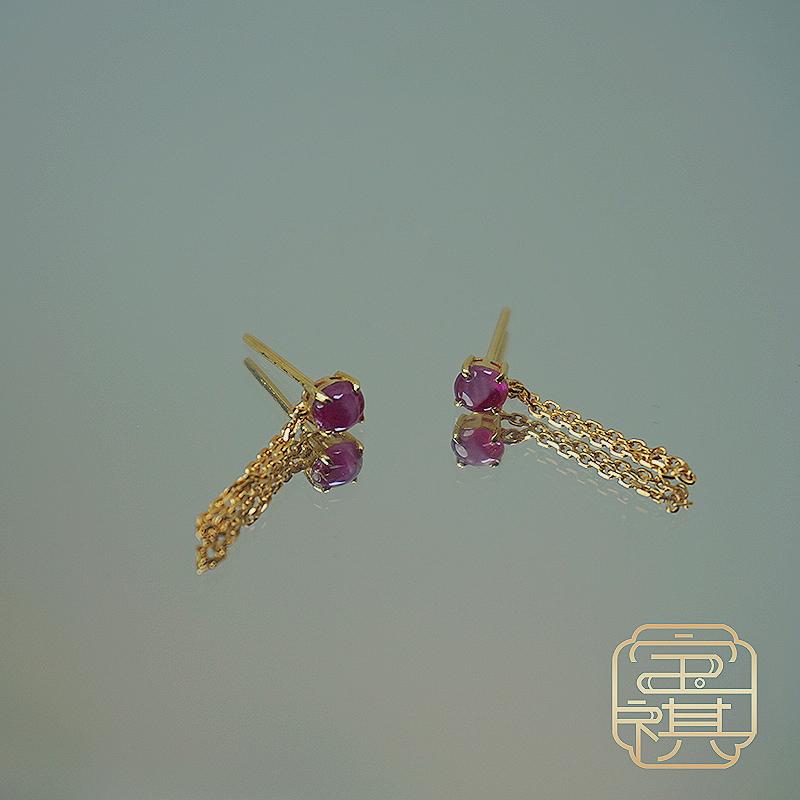 商品[宝祺]星光红宝石耳钉BQCBES20210929001图片