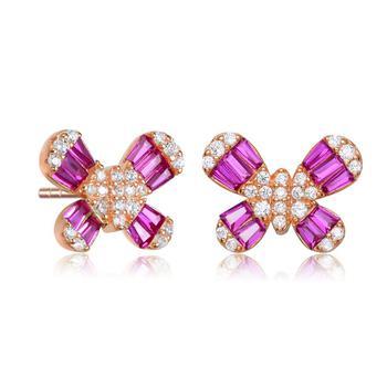 商品Megan Walford Rose Over Sterling Silver Cubic Zirconia Butterfly Stud Earrings图片