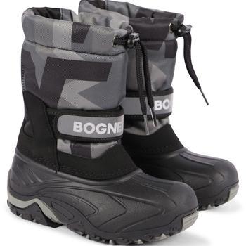 商品Faux fur interior logo ski boots in black and grey图片