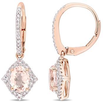 商品Morganite, White Sapphire & Diamond Vintage Leverback Drop Earrings in 10k Rose Gold JMS004484图片