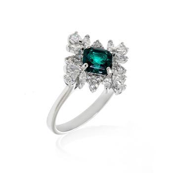 商品Swarovski Palace Rhodium Plated Czech White Crystal Ring Sz 7 5498838图片