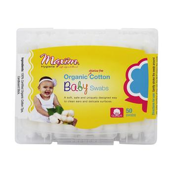 商品Maxim Hygiene Organic Chlorine Free Cotton Baby Swabs, 50 Ea图片