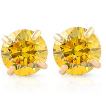 商品1/2ct Fancy Yellow Diamond Studs 14K Yellow Gold Screw Back Lab Grown Earrings图片