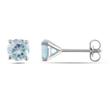 商品Amour 4/5 CT TGW Aquamarine Ear Pin Earrings in 14k White Gold JMS003165图片