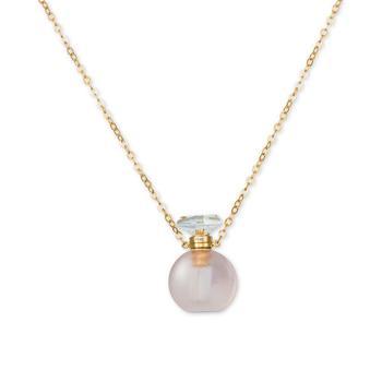 """商品Rose Quartz Perfume Jewelry Bottle 20""""-24"""" Pendant Necklace (10 ct. t.w.) in 14K Rose Gold-Plated Silver图片"""