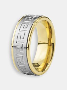 商品Crucible Gold Plated Two-Tone Stainless Steel Brushed and Polished Greek Key Ring图片