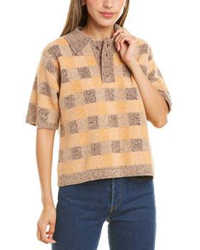 商品Dannijo Checkerboard Wool-Blend Polo Sweater图片