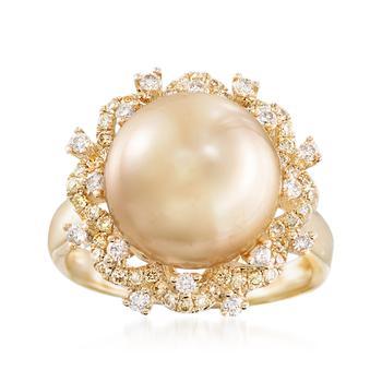 商品Ross-Simons 12-12.5mm Golden Cultured South Sea Pearl and Yellow and White Diamond Ring in 18kt Yellow Gold图片