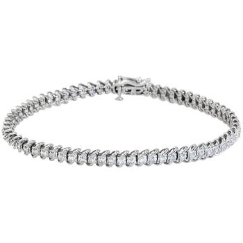 商品Hetal Diamonds 1.00 Cttw White Diamonds Tennis Bracelet in 10K Gold (H-I, I1-I2) BS0064_W图片