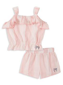 商品Little Girl's 2-Piece Striped Tank Top & Shorts Set图片