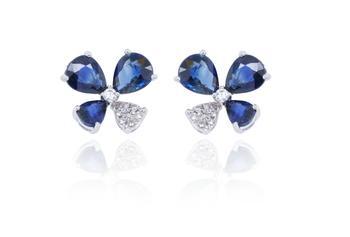 商品14K White Gold 1.47 g 24 ST Diamonds 0.07ct Sapphire 1.76ct Earrings图片