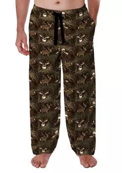 商品Men's Brown Deer Flannel Pajama Pants图片