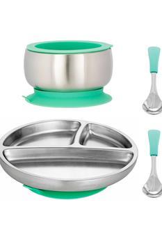 商品幼儿不锈钢盘子、碗和勺子套装 图片