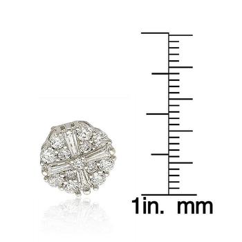 商品Suzy Levian Sterling Silver White Cubic Zirconia Fancy Cluster Stud Earrings图片
