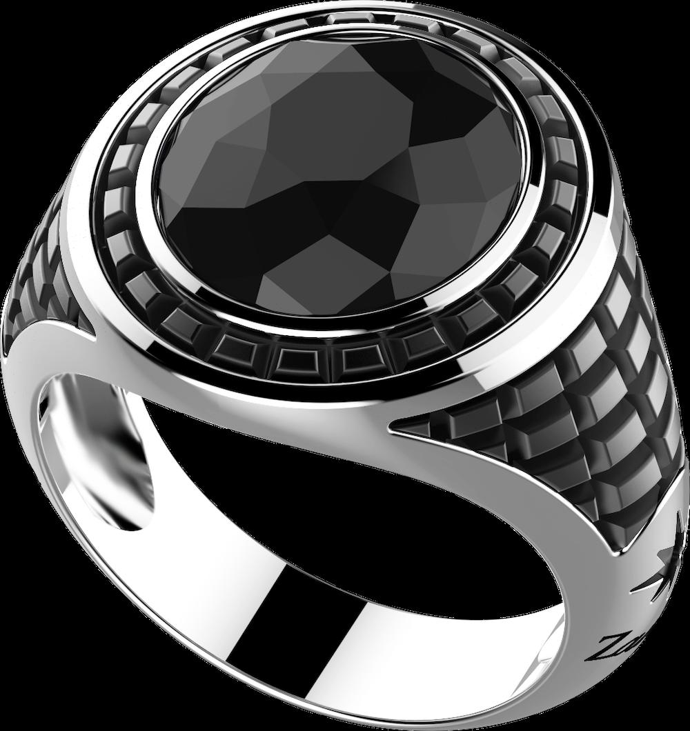 商品Silver ring with natural stone and geometric patterns图片