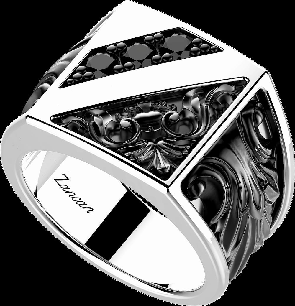 商品Silver ring with flamboyant design and natural stones.图片