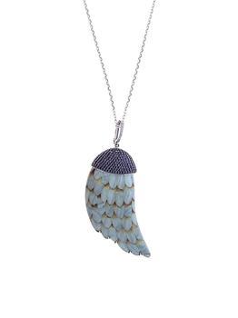 商品18K White Gold, Sapphire & Wood Pendant Necklace图片