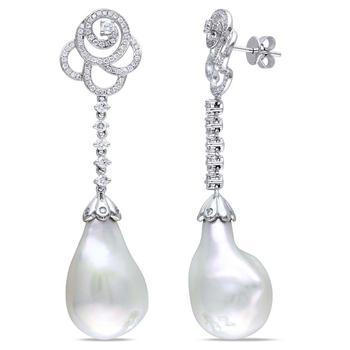 商品Amour 1 CT Diamond TW 13 - 13.5 MM White Freshwater Cultured Pearl Ear Pin Earrings 14k White Gold GH SI JMS005438图片