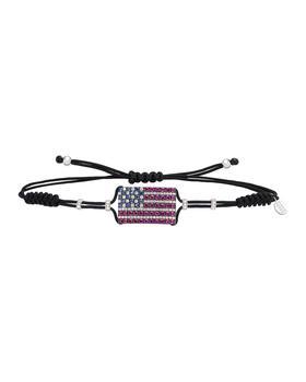 商品18k White Gold American Flag Pull-Cord Bracelet图片