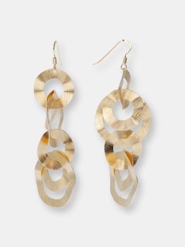 """商品18KT Gold Plated Round Link Earrings With Silk Effect size 2,5""""图片"""