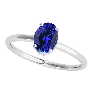 商品Maulijewels Tanzanite & White Diamond 1.00 Cttw Gemstone Ring For Women's In 14K Solid White Gold In Ring Size 6.5图片