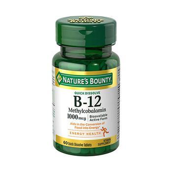 商品Natures Bounty Vitamin B-12 Methylcobalamin 1000 mcg Quick Dissolve Tablets, 60 ea图片