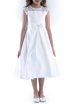 商品Sleeveless Illusion Neck & Box Pleat Organza Dress Girls 4-16图片