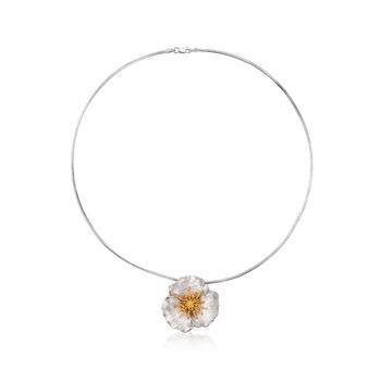 商品Ross-Simons Sterling and 18kt Gold Over Sterling Flower Pendant Necklace图片