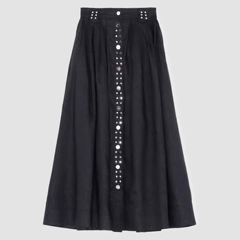 商品Ganni Women's Light Linen Midi Skirt - Phanthom图片