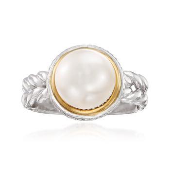 商品Ross-Simons 9.5mm Cultured Pearl Ring in Sterling Silver With 14kt Yellow Gold图片