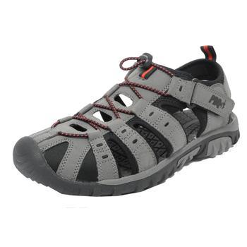 商品PDQ Mens Toggle & Touch Fastening Synthetic Nubuck Trail Sandals (Grey/Red)图片