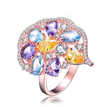 商品Megan Walford Rose Over Sterling Silver Multi Colored Cubic Zirconia Comfort Fit Ring图片