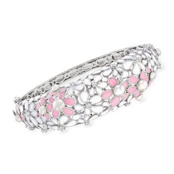 商品Ross-Simons 4-5mm Cultured Pearl Floral Bangle Bracelet With . White Topaz and Multicolored Enamel in Sterling Silver图片