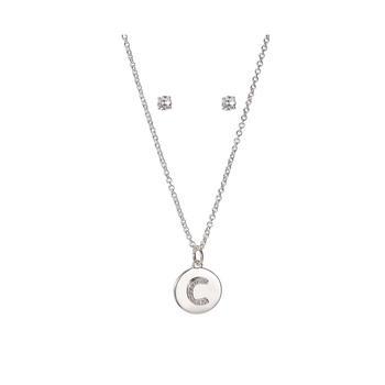 商品锆石镀银字母钱币项链&耳钉套装图片