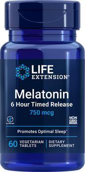商品Life Extension Melatonin 6 Hour Timed Release - 750 mcg (60 Tablets, Vegetarian)图片