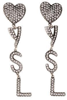 商品Saint Laurent YSL Heart Crystal Earrings - Only One Size / Silver图片