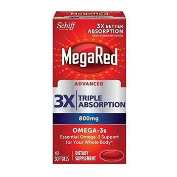 商品Schiff MegaRed Advanced Triple Absorption Omega 3 for Overall Health 800 mg Softgels, 40 Ea图片