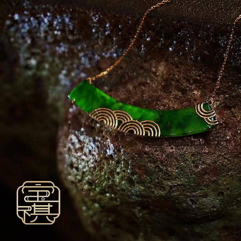 商品[宝祺]翡翠满绿祥云锁骨项链BQFCDZ20210918001图片
