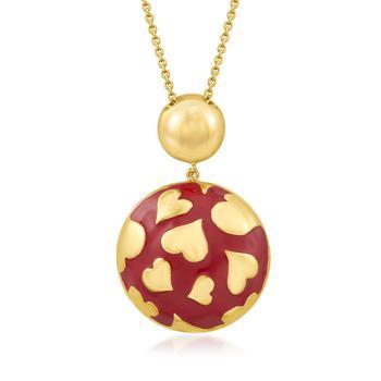 商品Ross-Simons Italian 18kt Gold Over Sterling and Red Enamel Heart Circle Pendant Necklace图片