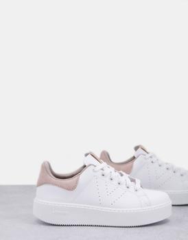 商品Victoria flatform plimsoll trainers in white and beige图片
