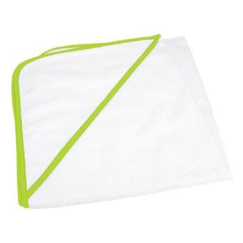 商品A&R Towels Baby/Toddler Babiezz All-over Sublimation Hooded Towel (White/ Lime Green) (One Size)图片